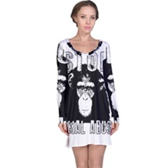 Stop Animal Abuse   Chimpanzee  Long Sleeve Nightdress