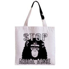 Stop Animal Abuse   Chimpanzee  Zipper Grocery Tote Bag