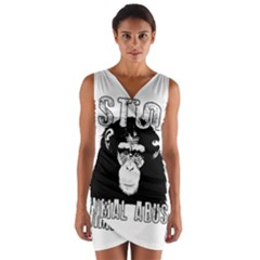 Stop Animal Abuse   Chimpanzee  Wrap Front Bodycon Dress