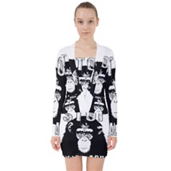 Stop Animal Abuse   Chimpanzee  V Neck Bodycon Long Sleeve Dress