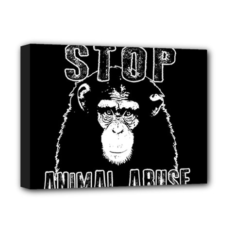 Stop Animal Abuse   Chimpanzee  Deluxe Canvas 16  X 12