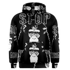 Stop Animal Abuse   Chimpanzee  Men s Pullover Hoodie