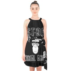 Stop Animal Abuse   Chimpanzee  Halter Collar Waist Tie Chiffon Dress