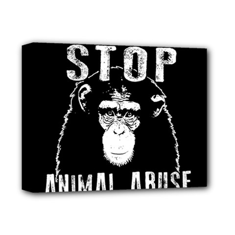 Stop Animal Abuse   Chimpanzee  Deluxe Canvas 14  X 11