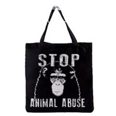 Stop Animal Abuse   Chimpanzee  Grocery Tote Bag