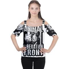 Animal Liberation Front   Chimpanzee  Cutout Shoulder Tee
