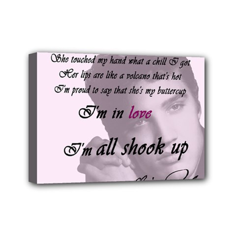 Elvis Presley   All Shook Up Mini Canvas 7  X 5