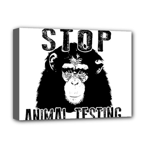 Stop Animal Testing   Chimpanzee  Deluxe Canvas 16  X 12