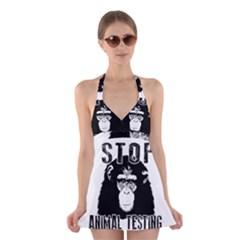 Stop Animal Testing   Chimpanzee  Halter Dress Swimsuit