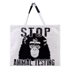 Stop Animal Testing   Chimpanzee  Zipper Large Tote Bag