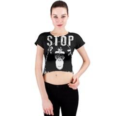 Stop Animal Testing   Chimpanzee  Crew Neck Crop Top