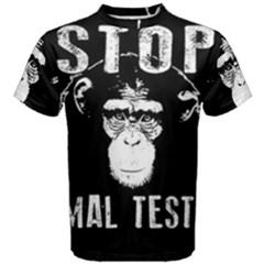Stop Animal Testing   Chimpanzee  Men s Cotton Tee