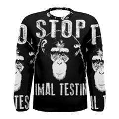 Stop Animal Testing   Chimpanzee  Men s Long Sleeve Tee
