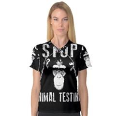 Stop Animal Testing   Chimpanzee  V Neck Sport Mesh Tee