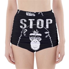 Stop Animal Testing   Chimpanzee  High Waisted Bikini Bottoms