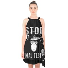 Stop Animal Testing   Chimpanzee  Halter Collar Waist Tie Chiffon Dress