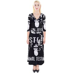 Stop Animal Testing   Chimpanzee  Quarter Sleeve Wrap Maxi Dress
