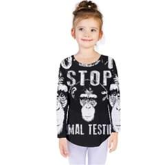 Stop Animal Testing   Chimpanzee  Kids  Long Sleeve Tee
