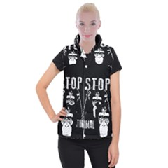 Stop Animal Testing   Chimpanzee  Women s Button Up Puffer Vest