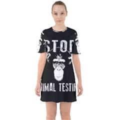 Stop Animal Testing   Chimpanzee  Sixties Short Sleeve Mini Dress