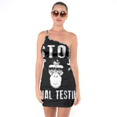 Stop Animal Testing   Chimpanzee  One Soulder Bodycon Dress