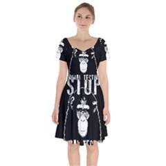 Stop Animal Testing   Chimpanzee  Short Sleeve Bardot Dress
