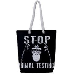 Stop Animal Testing   Chimpanzee  Full Print Rope Handle Tote (small)