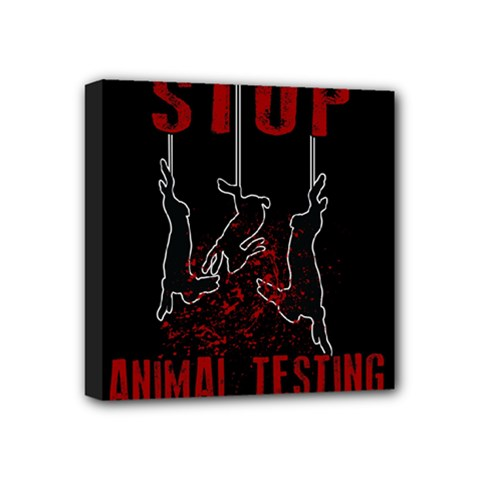 Stop Animal Testing   Rabbits  Mini Canvas 4  X 4