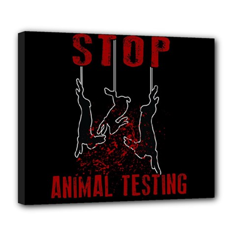 Stop Animal Testing   Rabbits  Deluxe Canvas 24  X 20