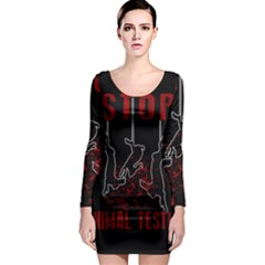 Stop Animal Testing   Rabbits  Long Sleeve Bodycon Dress