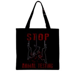 Stop Animal Testing   Rabbits  Zipper Grocery Tote Bag