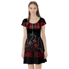 Stop Animal Testing   Rabbits  Short Sleeve Skater Dress