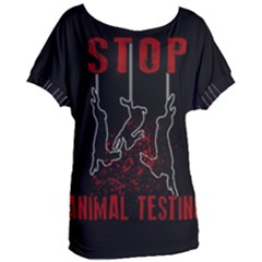 Stop Animal Testing   Rabbits  Women s Oversized Tee