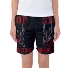 Stop Animal Testing   Rabbits  Women s Basketball Shorts