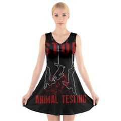 Stop Animal Testing   Rabbits  V Neck Sleeveless Skater Dress