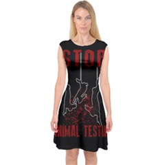 Stop Animal Testing   Rabbits  Capsleeve Midi Dress