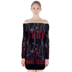 Stop Animal Testing   Rabbits  Long Sleeve Off Shoulder Dress