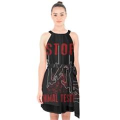 Stop Animal Testing   Rabbits  Halter Collar Waist Tie Chiffon Dress
