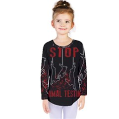 Stop Animal Testing   Rabbits  Kids  Long Sleeve Tee