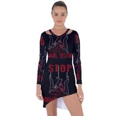 Stop Animal Testing   Rabbits  Asymmetric Cut Out Shift Dress
