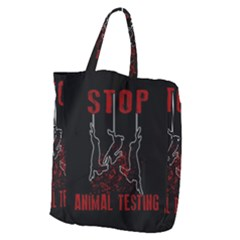 Stop Animal Testing   Rabbits  Giant Grocery Zipper Tote