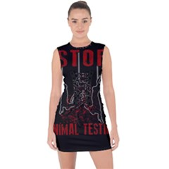Stop Animal Testing   Rabbits  Lace Up Front Bodycon Dress