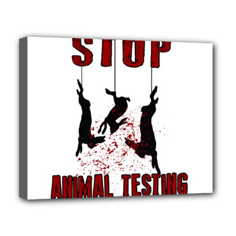 Stop Animal Testing   Rabbits  Deluxe Canvas 20  X 16