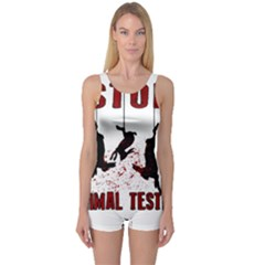 Stop Animal Testing   Rabbits  One Piece Boyleg Swimsuit