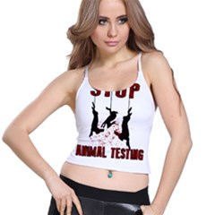 Stop Animal Testing   Rabbits  Spaghetti Strap Bra Top