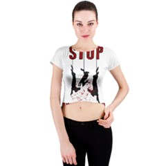 Stop Animal Testing   Rabbits  Crew Neck Crop Top