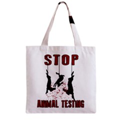 Stop Animal Testing   Rabbits  Grocery Tote Bag