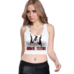 Stop Animal Testing   Rabbits  Racer Back Crop Top