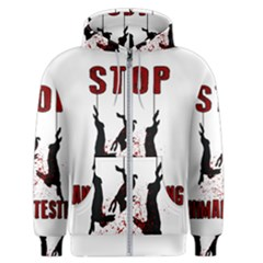 Stop Animal Testing   Rabbits  Men s Zipper Hoodie