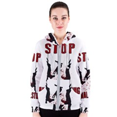 Stop Animal Testing   Rabbits  Women s Zipper Hoodie